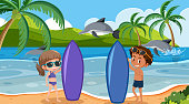 Background scene with surfers and dolphins illustration