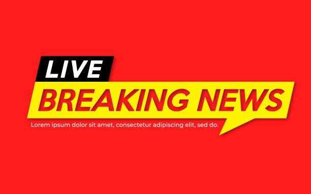 stockillustraties, clipart, cartoons en iconen met achtergrond schermbeveiliging op het laatste nieuws. brekend nieuws live banner op de rode achtergrond. - journaal presentator