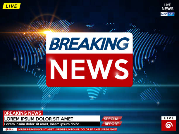 Background screen saver on breaking news. Breaking news live on blue background with sunrise and world map. Background screen saver on breaking news. Breaking news live on blue background with sunrise and world map. Vector illustration. publicité stock illustrations