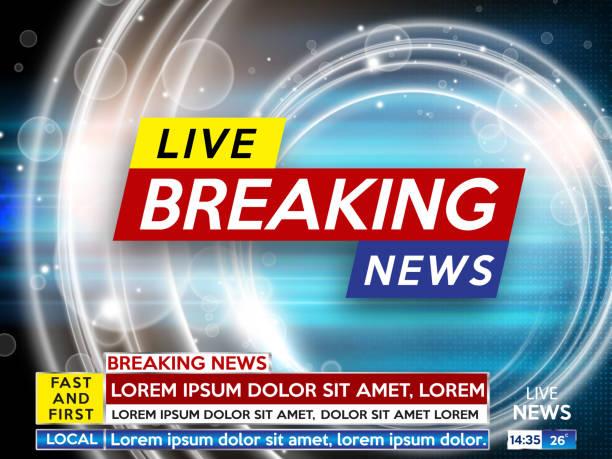 stockillustraties, clipart, cartoons en iconen met de schermbeveiliging op brekend nieuws achtergrond. breaking nieuws live op blauwe achtergrond. vectorillustratie. - nieuwsevenement