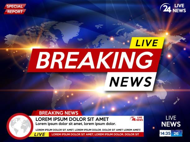 stockillustraties, clipart, cartoons en iconen met de schermbeveiliging op brekend nieuws achtergrond. breaking nieuws live op wereld kaart achtergrond. - nieuwsevenement