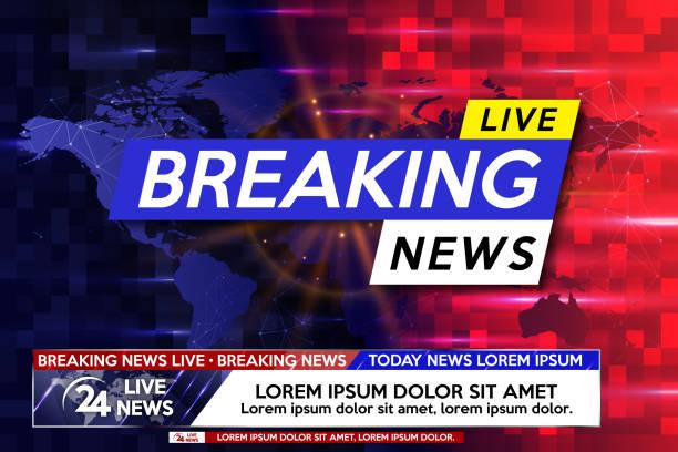 stockillustraties, clipart, cartoons en iconen met achtergrond screensaver op breaking news. breaking news live op de wereldkaart op de blauwe en rode achtergrond. - nieuwsevenement