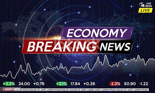 Background screen saver on economic news. Economic news live on world map background. Vector illustration.