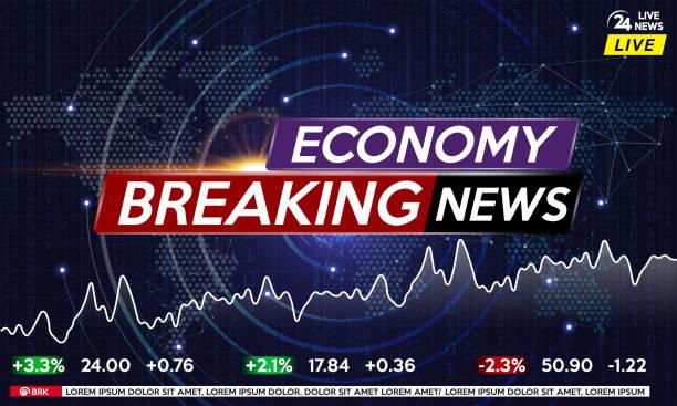 stockillustraties, clipart, cartoons en iconen met achtergrond schermbeveiliging op economisch nieuws. economisch nieuws live op wereld kaart achtergrond. - nieuwsevenement