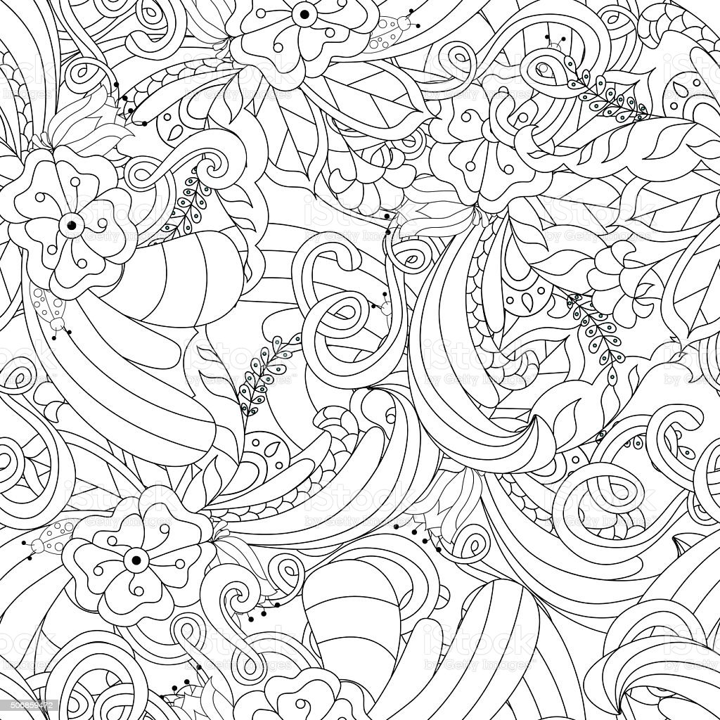 Background Seamless Abstract Texture Doodle Design With Henna