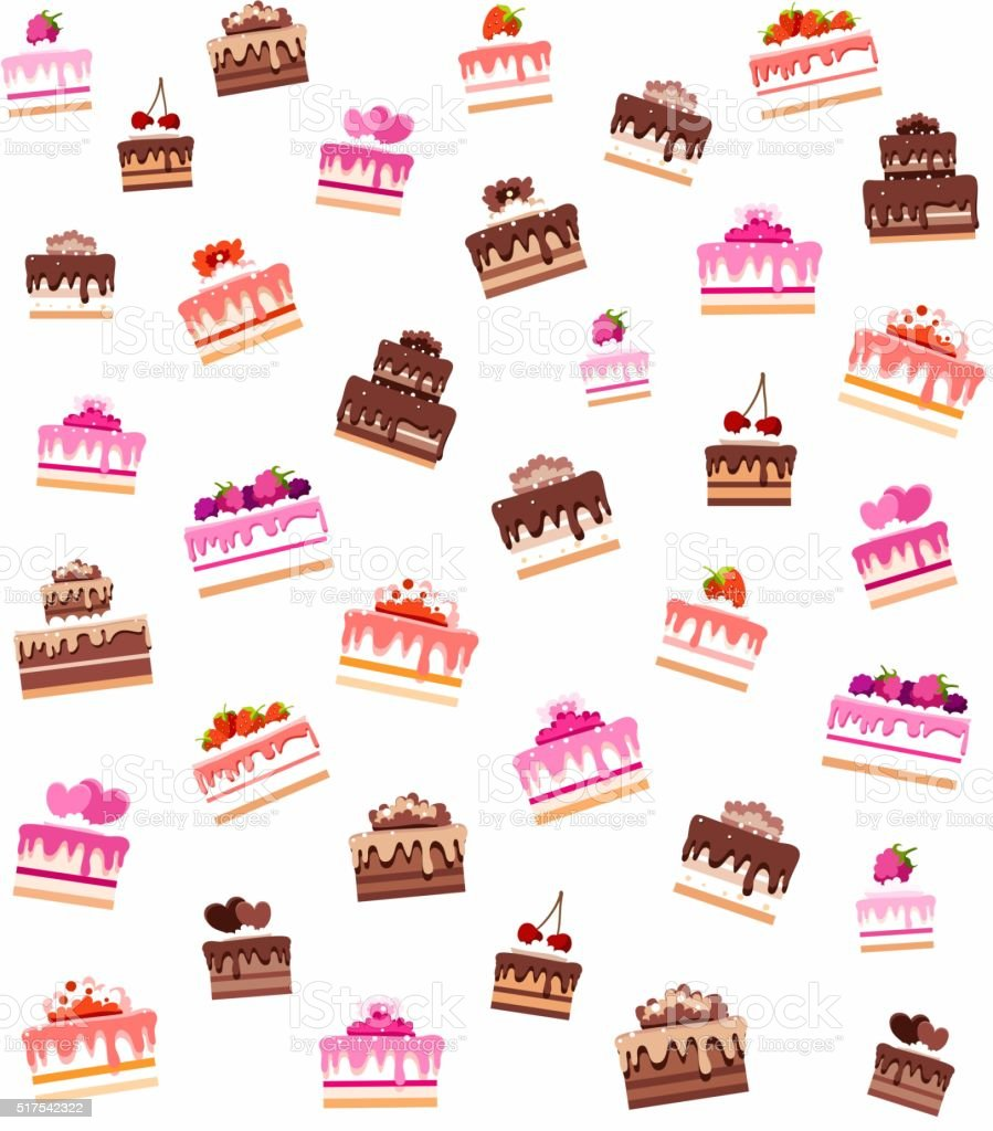 Background seamless, cakes and pastries. vector art illustration