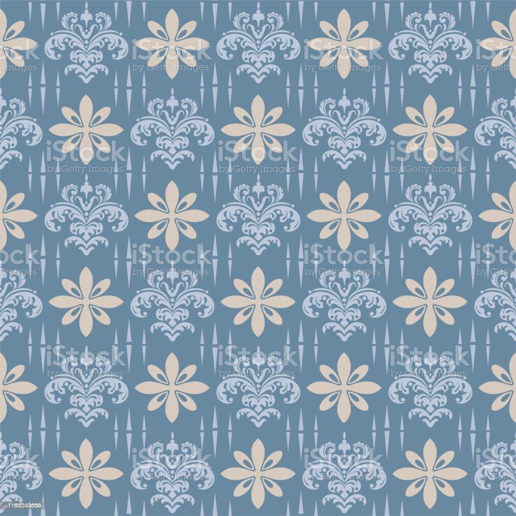 Background Seamless Pattern Vintage Damask Wallpaper Stock