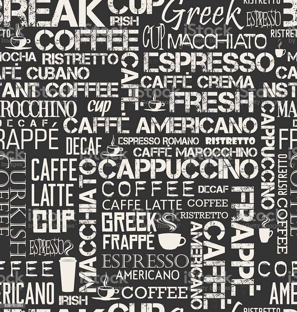 Background Seamless Tile Of Coffee Words And Symbols Stock