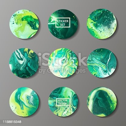 Set of trendy abstract liquid circles with marble texture . Vector Fluid circle for sticker, cover, icon, logo.