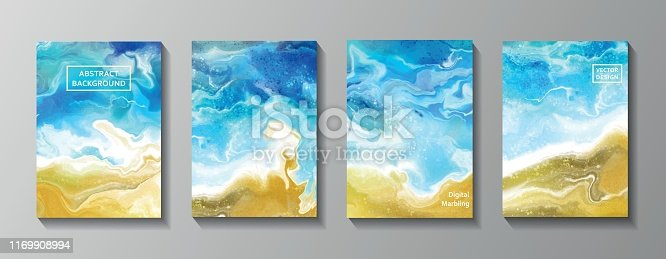 Fluid marble texture set. Vector ocean, sea abstract background. Set of cards for print and web design