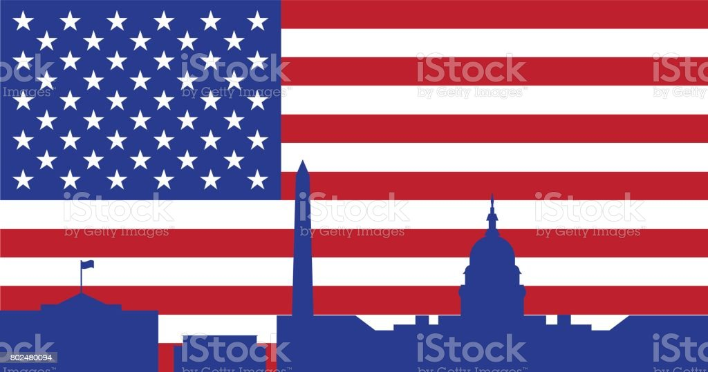 Background silhouettes of buildings in Washington DC and the flag of the United States of America. Vector illustration vector art illustration
