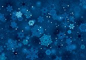 Vector illustration of abstract snow background winter night design in blue and white with lots of snowflakes, stars and blurred circles falling on the entire image.Clipping path and transparency on the file.File contain EPS8 and large JPEG.