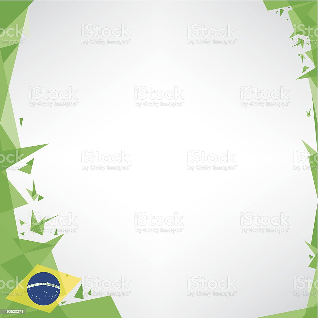 background square origami of brazil vector art illustration