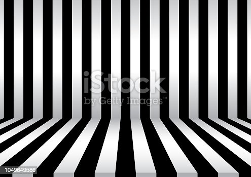 Abstract black and white color stripe background. Room interior vintage with black and with wall and floor line design.