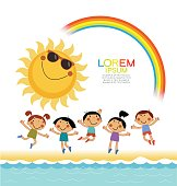 Happy children with the sun, a rainbow on the seashore. Summer background. Blank template. Sketch cartoon. File is saved in 10 EPS version.