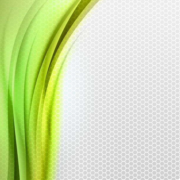 Background template of grey hexagons with abstract green vector art illustration