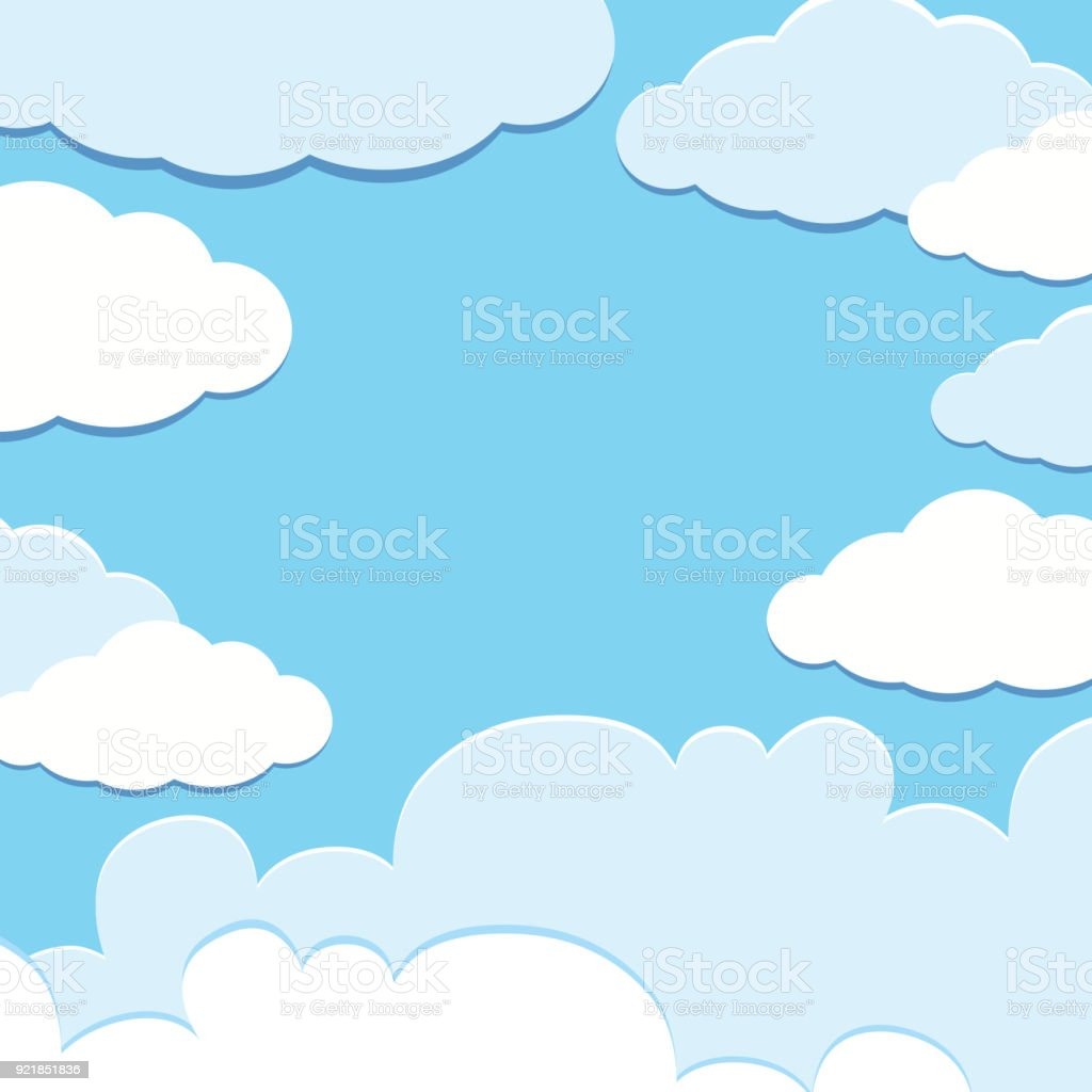 background template with blue sky and white clouds stock vector art