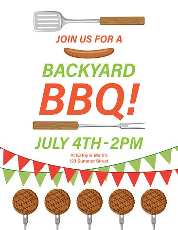 BBQ Background Template With Burgers And Banner