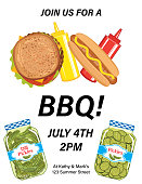 Barbecue template with foods and room for text. Flat colors. Built in CMYK.