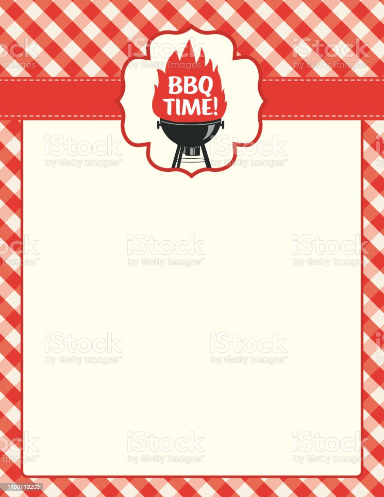 Bbq Background Template With Checkered Plaid Tablecloth ...
