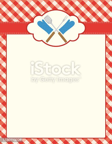 BBQ background Template on a checkered tablecloth. Lots of room for information about your event.