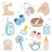 Background, texture, backdrop, pattern, wallpaper with children cartoon doodle flat toys. Kids illustration.