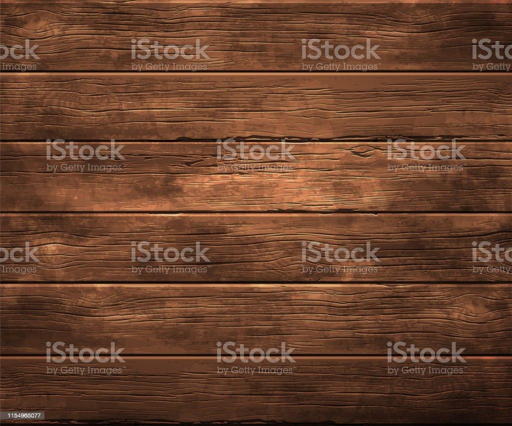 Achtergrond, textuur van oud hout. Zeer realistische illustratie. - Royalty-free Binnenopname vectorkunst