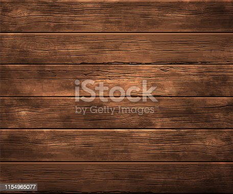 Background, texture of old wood. Horizontally located wooden boards. Highly realistic illustration