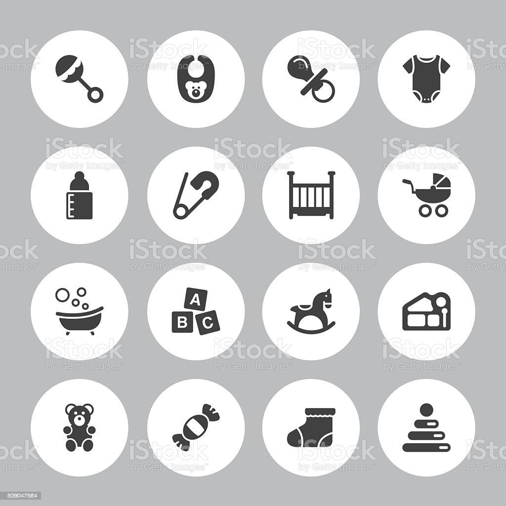 Fond de 16 icônes de bébé-Illustration - Illustration vectorielle