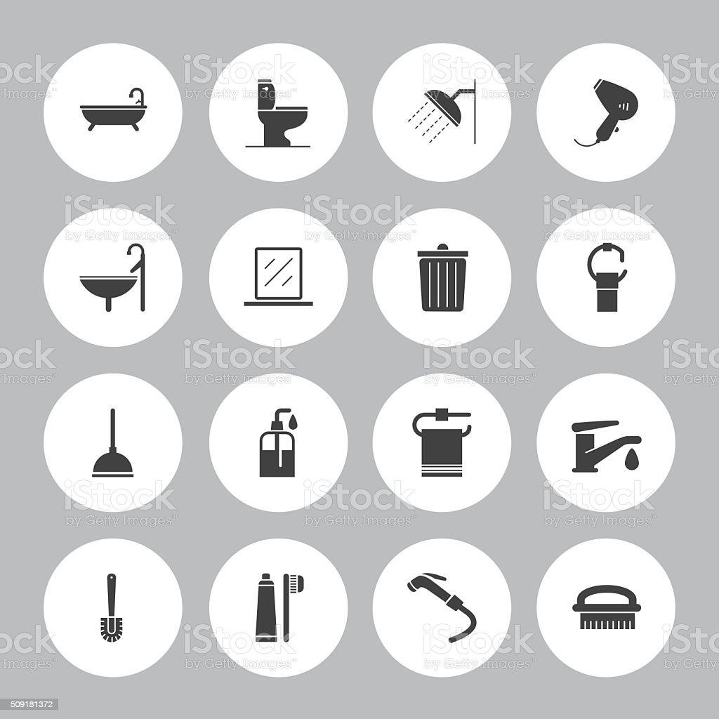 Hintergrund Vektor-Badezimmer - 16 Symbole – Vektorgrafik