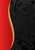 black red background with floral pattern
