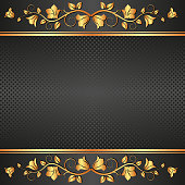 black  background with floral ornament