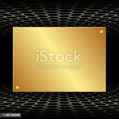 black background and golden plaque