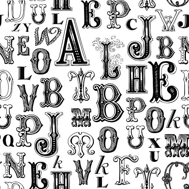 ABC background Seamless pattern with antique lettering alphabet backgrounds stock illustrations