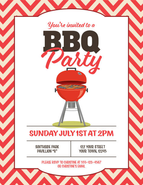 BBQ Background Vertical Backyard BBQ in a fame..  There is space for text. Ideal for a template or summer party invitation cooking borders stock illustrations