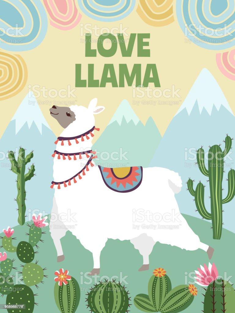 ラマ山々 とサボテンの背景ベクトル画像漫画イラストポスター デザイン