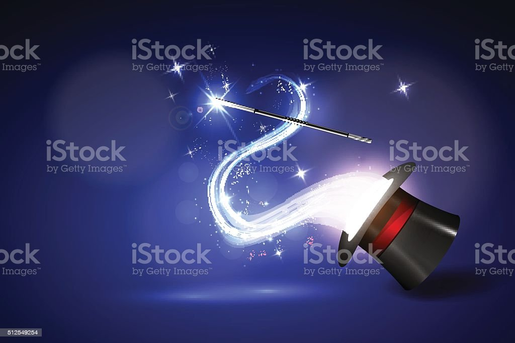 background wand and magical glow vector art illustration
