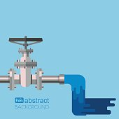 Background water supply with pipe, valve on the pipe and clean water flowing out from pipe. Vector flat design illustration.