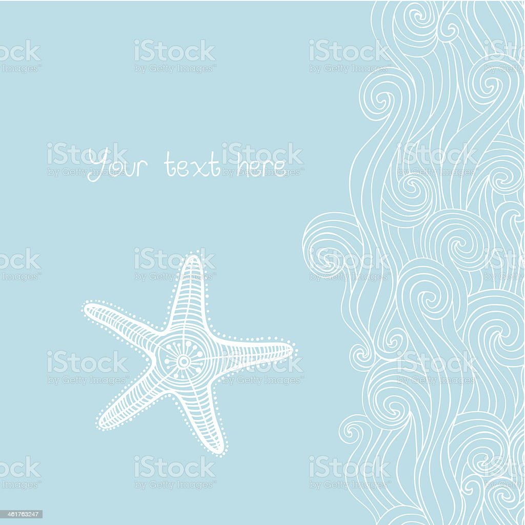 Background waves and starfish, maritime pattern. vector art illustration