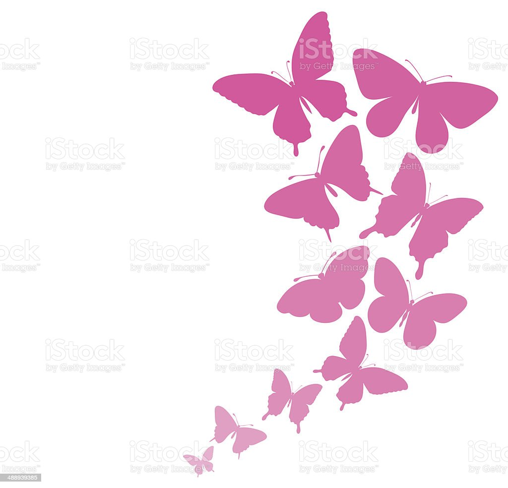 De fundo com uma borda de borboletas voando. - ilustração de arte em vetor