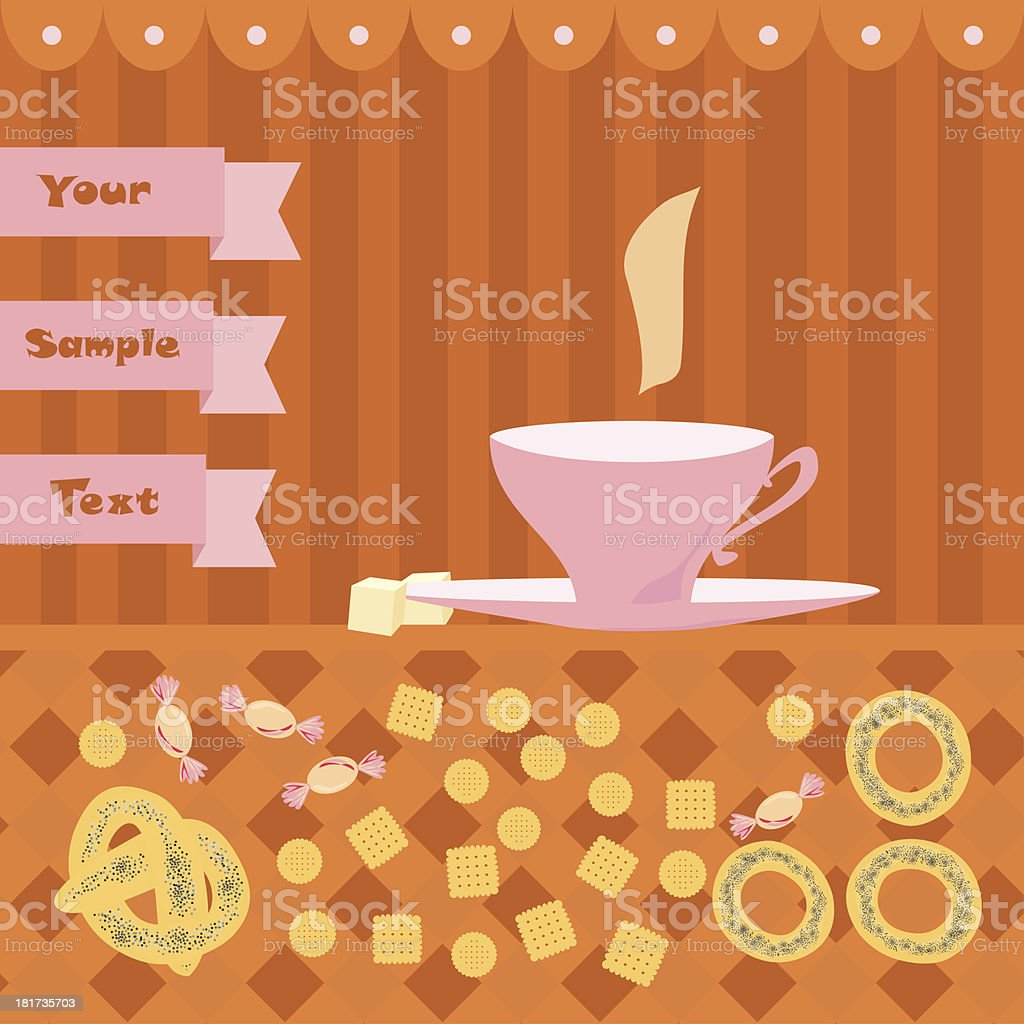 background with a cup of tea royalty-free stock vector art
