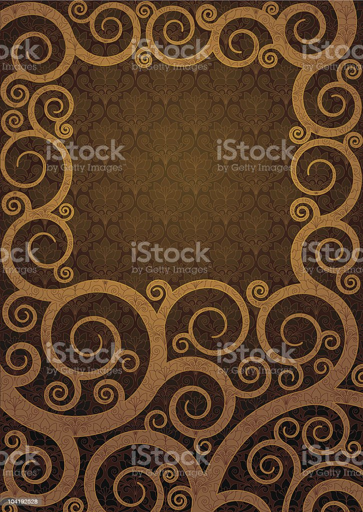 Background with a curled gold ornament royalty-free stock vector art