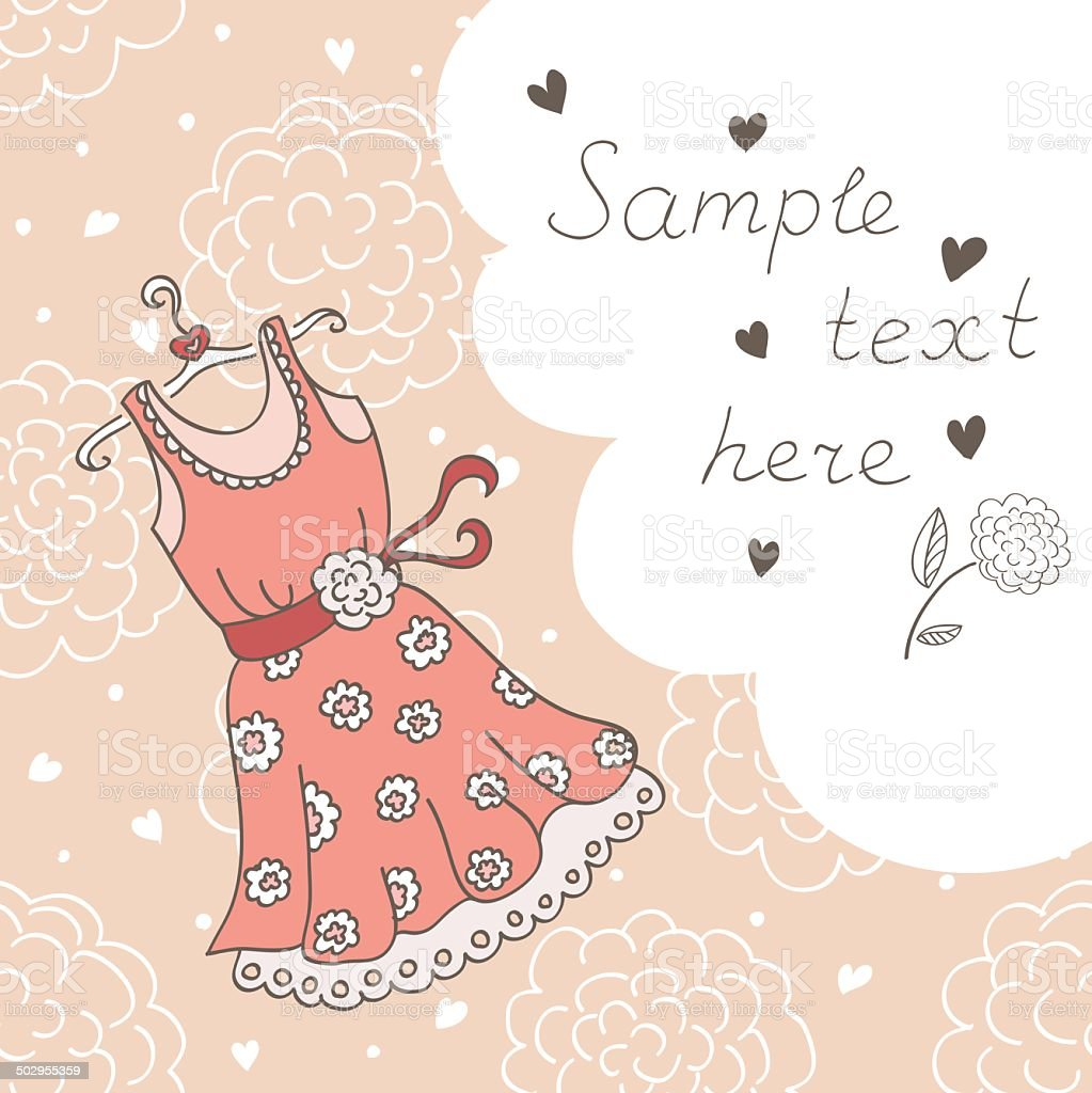 Background with a dress and bubble for the text (vector) vector art illustration