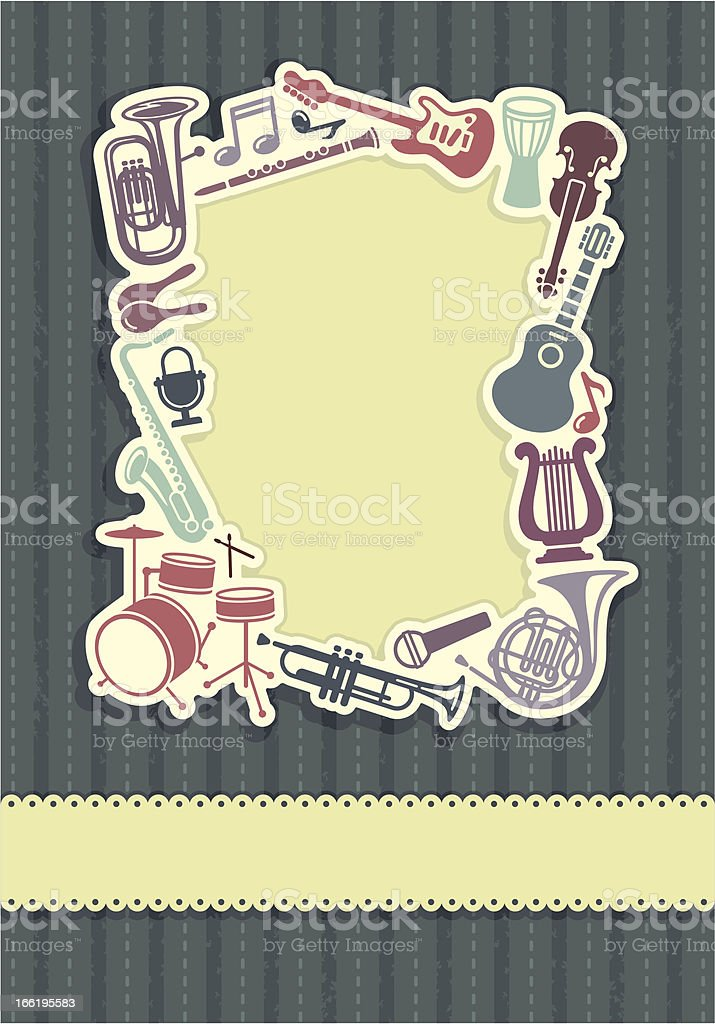 Background with a framework from musical instruments royalty-free stock vector art