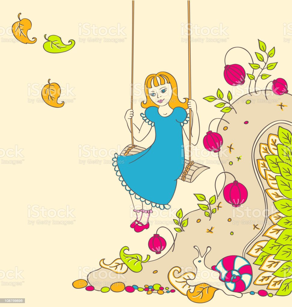 background with a little girl royalty-free stock vector art