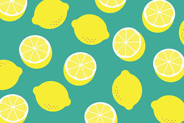 background with a pattern of yellow lemons - zitrone stock-grafiken, -clipart, -cartoons und -symbole