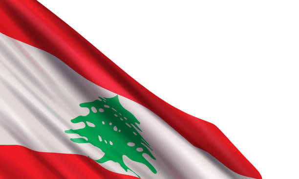 hintergrund mit einer realistischen flagge des libanon. - beirut stock-grafiken, -clipart, -cartoons und -symbole