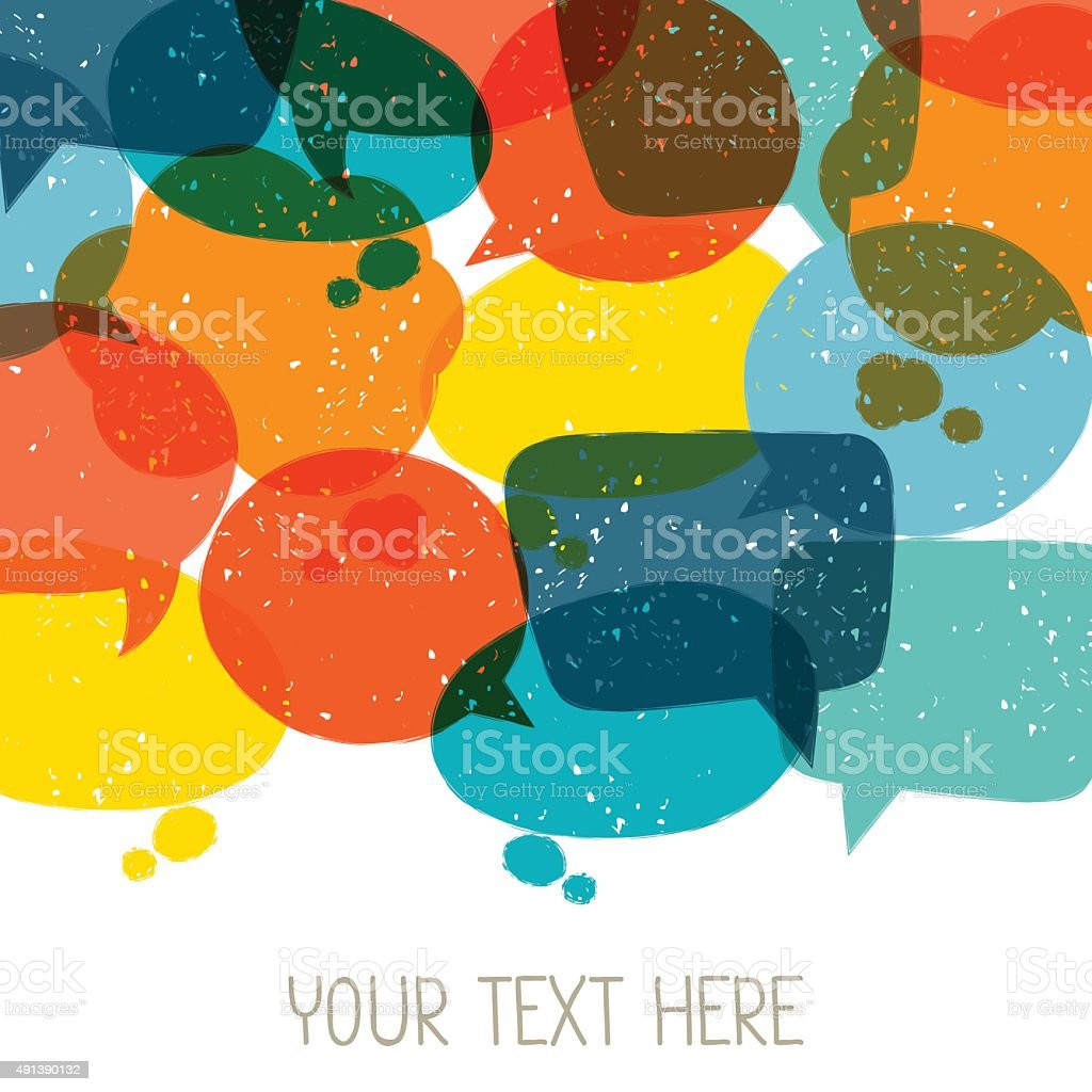 Background with abstract retro grunge speech bubbles vector art illustration