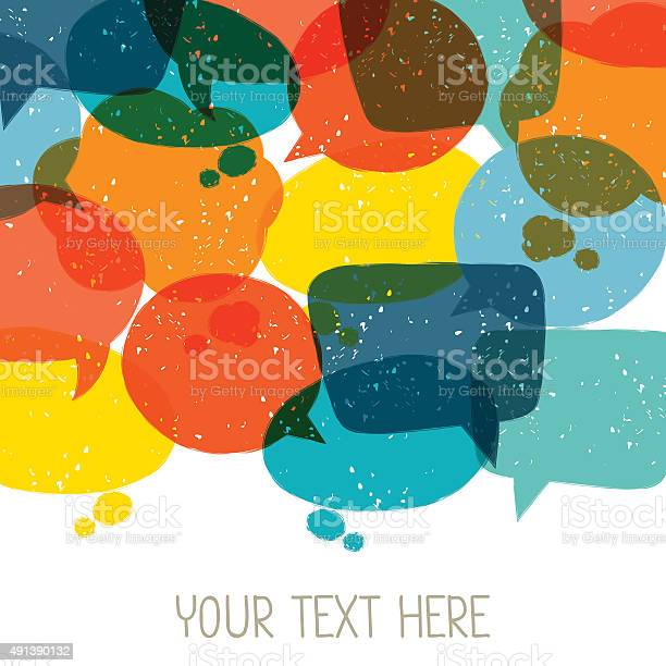 Background with abstract retro grunge speech bubbles.