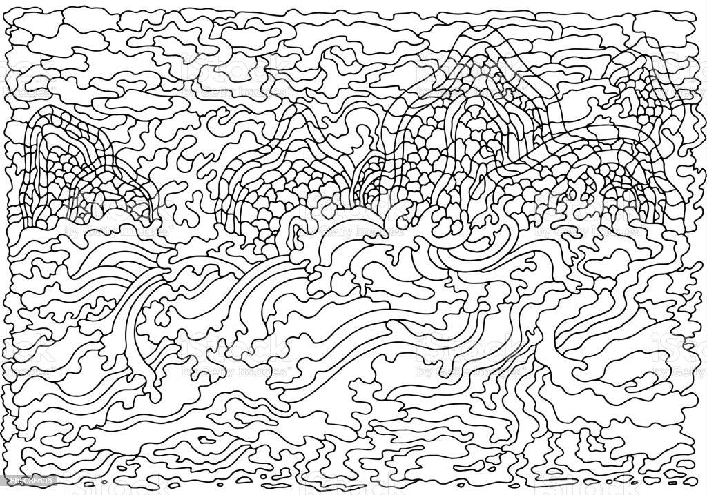 Kleurplaten Voor Volwassenen Handen.Achtergrond Met Abstracte Golven Zwartwit Doodle Vectorillustratie